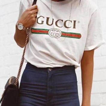 Gucci Summer Women Men Casual Print Cotton T-Shirt Tunic Top Blouse White