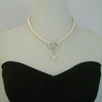 Vintage MARVELLA Baroque Faux Pearls Rhinestones Necklace Formal Jewelry Perfect For Evening Dinner Cocktail Bridal Wedding Prom B'day Party