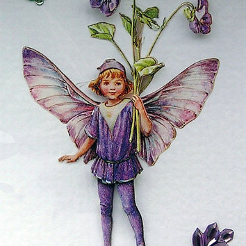 Violet Fairy Hand-Crafted 3D Decoupage Card - Blank for any Occasion (1701)