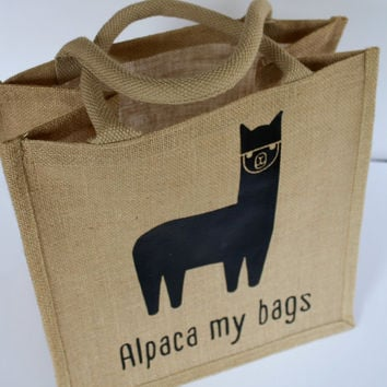Tote, gift bag - Custom made jute tote with adorable alpaca print.