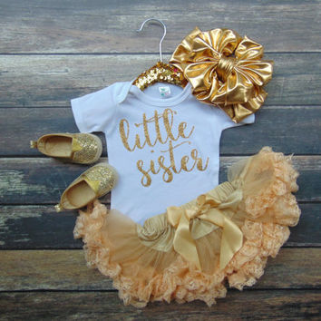 Little Sister Bodysuit - Pregnancy Announcement - Gender Reveal - Gold Glitter Sparkle -  Ann Marie Avenue