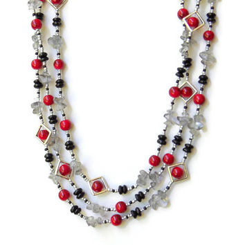 Extra long Art Deco necklace Multi wrap necklace Red black silver Triple layer Natural semiprecious smoky quartz OOAK unique jewelry