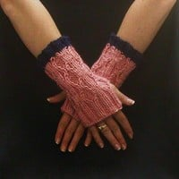Fingerless Gloves Pink Blue Cable Knit Diamond Motif Mitts Mittens Small Short