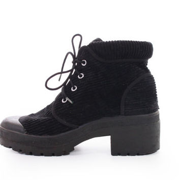 90s Corduroy Black Chunky Platform Lace Up Ankle Boots Goth Hipster 1990's Vintage Shoes Womens Size US 7.5 UK 5.5 EUR 38