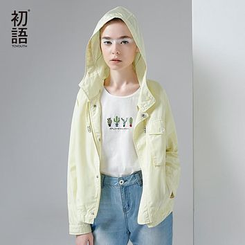 Toyouth Trench Coat 2017 Spring Women Hooded Coats Solid Color Draw String Casual Short Zipper Overcoats