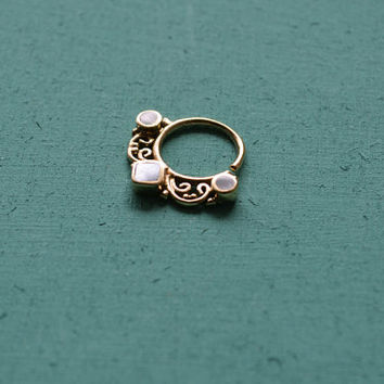 Tribal septum ring with white shell for pierced nose / 18g / Big Septum jewelry / Ethnic nose jewelry/Tribal body jewelry/Belly dance septum