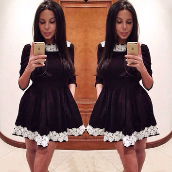 O-Neck Long Sleeve Lace Floral Patchwork Slim Pleated Dress