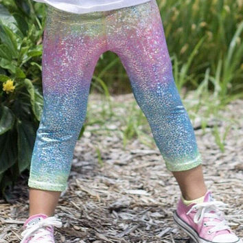 Unicorn capris- baby, toddler, kids capris- girls capri leggings- metallic, sparkly holographic leggings- whimsical rainbow leggings- capri