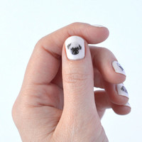 dog nail art - 40 dog nail transfers - puppies - puppy - pug - frenchie- illustrations