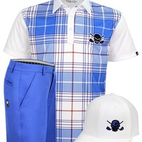 March Outfit - Hazard Men's Golf Shirt, Shorts & Hat (White/Blue)