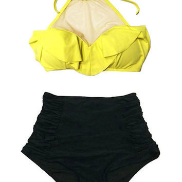 Yellow Mesh Top and Black Ruched Rouching High Waist Waisted Highwaisted Shorts Bottom Swimsuit Bikini Swim Wear Bathing suit Beachwear S M