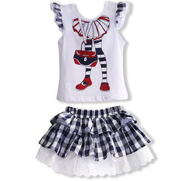2016 fashion summer children clothing outfits sets for kids girl cotton sleeved ruffle Sequin tops lace plaid skirt suits