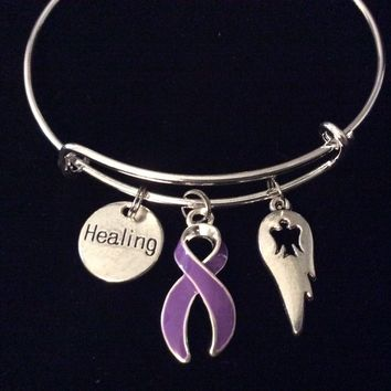 Purple Awareness Ribbon Adjustable Bracelet Expandable Silver Wire Bangle Healing Guardian Angel Wing Trendy One Size Fits All Gift (Other Awareness Ribbons Available)