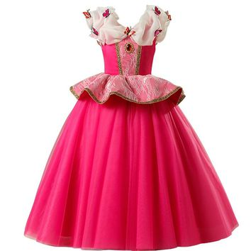 Halloween cosplay costume kids princess belle costume Beauty Snowflake and the Beast party dress for girls kids clothing S104