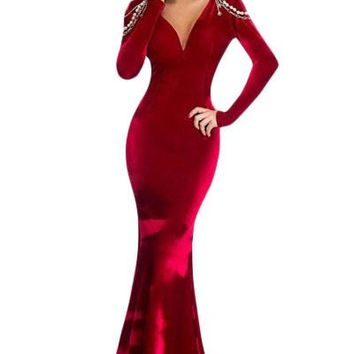 Chicloth Red Long Sleeve Velvet Evening Gown