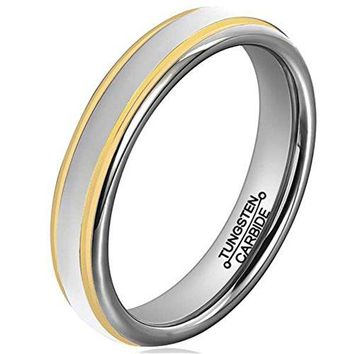 4mm Tungsten Carbide Ring Simple Style Gold Plated Unisex Wedding Engagement Band (Platinum 14k, 18k and 24k Yellow Gold)