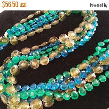 Now On Sale Vintage Blue Green Flapper Length Necklace ** Mad Men Mod Mid Century Collectible ** Lucite Jewelry ** Retro Rockabilly Accessor