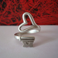 Valentine Silver Heart Ring NO SHIPPING Gothic by ParadiseFindings