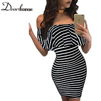 Autumn Casual Women Striped Dress Slash Neck Off Shoulder Bodycon Mini Dress