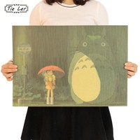 TIE LER Vintage Cartoon Anime Totoro Poster Home Decor Retro Kraft Paper Wall Sticker 51.5X36cm