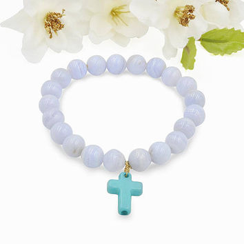 Natural Gemstone Blue Lace Agate Bead  Bracelet Turquoise Cross Charm
