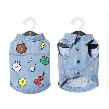 Dog Clothes for Small Dogs Summer T Shirts Vest for French Bulldog Colorful Chihuahua Denim Vest Jean Coat Jacket for Puppy Pet