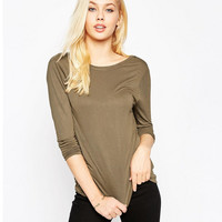Backless Knit Halter Long Sleeve T-Shirt
