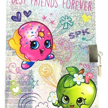 "Shopkins ""BEST FRIENDS FOREVER"" Metallic Diary With Lock/Notebook/Journals"