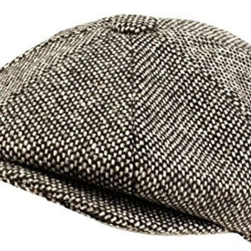 100% Wool Winter Classic Tweed Newsboy Cabbie Gatsby Cap Hat Men (L, Black)