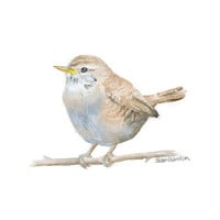 Bird Watercolor Painting - Wren - 8 x 10 Giclee Print - Woodland Animal - Bird Art