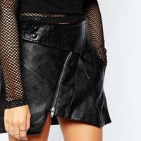 Tiger Mist Assymetric Mini Skirt with Zip Detail