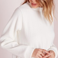 Missguided - Ribbed Longline Sweat White