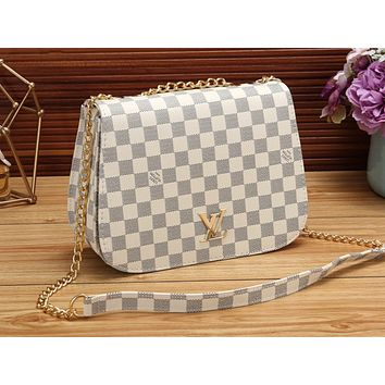 LV Hot Selling Women's Shopping Bag Coloured Single Shoulder Bag White lattice