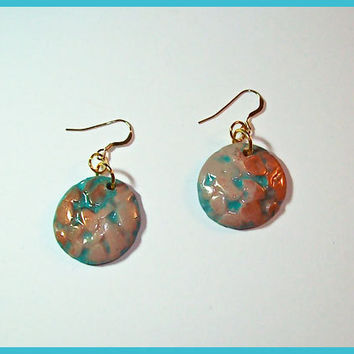 Polymer Clay Earrings Pinkish Beige Pebble design Copper accents 1 1/4 in. dangle 14kt GF earwires