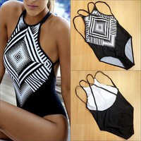 One Pieces Swimsuit Bikini Print Suit