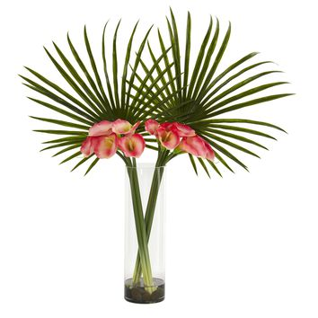 Artificial Flowers -Fan Palm and Calla Lily Pink Arrangement