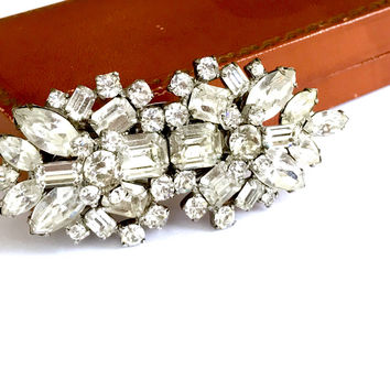 Art Deco Rhinestone Duette Clips, Brooch, Rhinestone Dress Clips, Bridal Jewelry, Vintage 1930s, Art Deco Jewelry