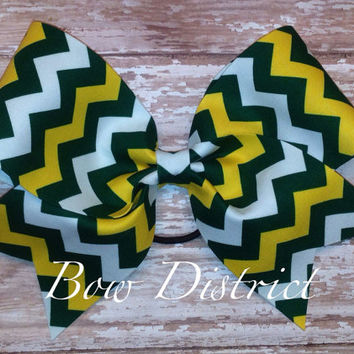 "3"" Green, Yellow, and White Chevron Cheer Bow"