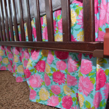 Custom Crib Skirt, Turquoise Floral, or You Design, Made to Order, Dust Ruffle