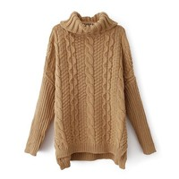 Women Long Sleeve Turtleneck Chunky Cable Knit Loose Sweater Pullover (Khaki)