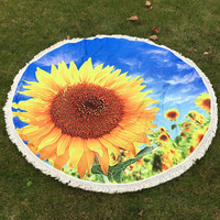 Bohemia Chiffon Huge Yellow Sunflower, Blue Sky Round Beach Throw, Yoga Mat, Home Decor Large 150cm