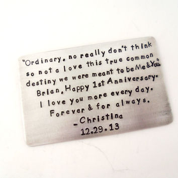 1 Year Anniversary Gift - Wallet Insert Card - Husbands Gift - Birthday Gift - 10 Year Anniversary Gift - Engagement Gift - Gift For Him
