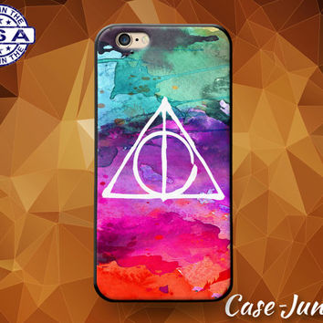 Deathly Hallows Symbol Watercolor Tumblr Inspired Cute Custom Case For iPhone 4 and 4s and iPhone 5 and 5s and 5c and iPhone 6 and 6 Plus +