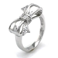 TIONEER Sterling Silver Cute Bow Infinity Ring, Size 7
