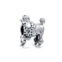 Bling Jewelry 925 Sterling Silver Poodle Show Dog Charm Fits Pandora Animal Bead