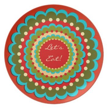 Custom Turquoise & Red Pattern Melamine Plate