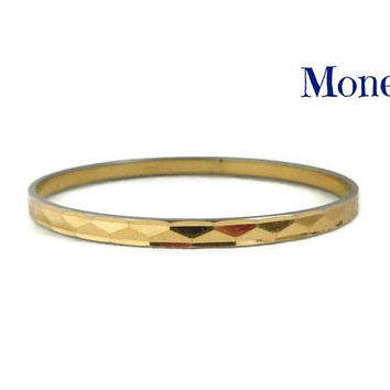 Vintage Monet Bangle | Gold Tone Triangle Pattern Skinny Bangle Bracelet