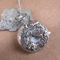 Gorgeous jewerly silver Alice in Wonderland Pocket Watch Necklace Jewelry Pendant men's gift