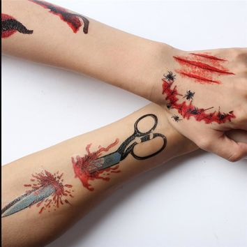 1Pcs Halloween Zombie Scar Tattoos Fake Scars Bloody Costume Makeup Party Decoration Horror Wound Scary Blood Injury Sticker