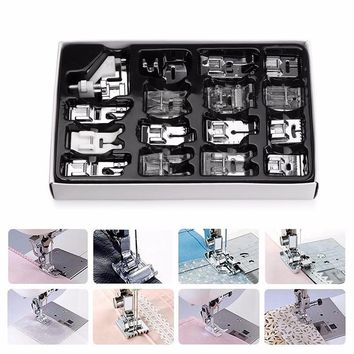 16Pcs Domestic Sewing Machine Presser Foot Feet Kit Set Hem Foot Spare Parts Accessories With Box
